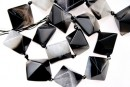 Natural agate, druzy quartz , black - white, 3D square, 23mm
