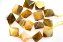 Natural agate, druzy quartz , golden - olive, 3D square, 23mm