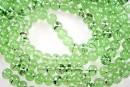 Margele sticla efect, verde-argintiu, 6.5mm - x150