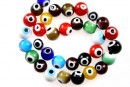 Margele Evil eye, rotund, multicolor, 10mm
