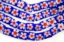 Margele chevron, patrat, albastru cu rosu, 10mm