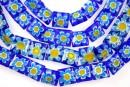 Margele chevron, patrat, albastru cu galben, 10mm