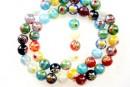 Margele chevron, rotund, multicolor cu irizatii AB, 8mm