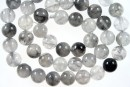 Grey cloudy quartz, round, 8mm
