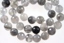 Grey cloudy quartz, faceted round, 10mm