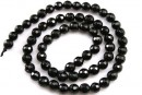 Onix, black, faceted round, 4mm