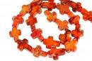 Sediment jasper, orange, cross, 17x12.5mm