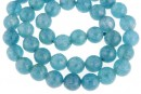 Blue angelite quartz, intense, faceted round, 8mm