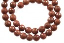 Brown goldstone, faceted round, 6mm