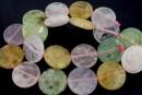 Mix white, pink quartz, prehnite, amethyst, citrine, flat disc, 20mm