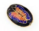 Margele cloisonne, oval cu fluture, 20x14mm - x1