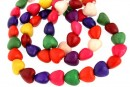Multicolor magnesite, heart, 28x8.5mm