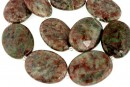 Natural green garnet, flat oval, 40x30mm