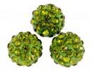 Margele shamballa, un orificiu, olivine, 10mm - x2