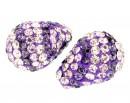 Margele shamballa, picatura, un orificiu, violet, 17x11mm - x1