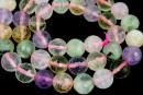 Mix white, pink quartz, prehnite, amethyst, citrine, microfaceted round, 10mm