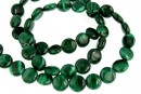 Malachite, natural stone, flat disc, 8.5mm