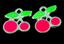 Charm metalic emailat, cirese, roz neon, 12mm - x5