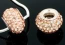 Margele european style, shamballa, light peach, 12mm - x1