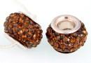 Margele european style, shamballa, smoked topaz, 12mm - x1
