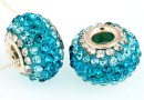 Margele european style, shamballa, aquamarine, 16mm - x1