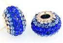 Margele european style, shamballa, cobalt blue, 16mm - x1