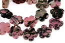 Rhodonite black veins, flower, 20mm