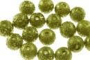 Perle sticla efect, oliv auriu, 10mm - x30