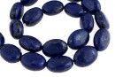 Natural turquoise stone, blue lapis, flat oval, 17x12.5mm