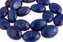 Natural turquoise stone, blue lapis, flat oval, 25x18mm
