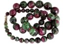 Ruby in zoisite, natural stone, faceted round, 7-15.5mm