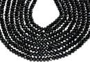 Black spinel, natural, faceted rondelle, 4mm