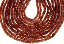 Hessonite garnet, natural, faceted rondelle, 3mm