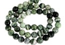 Silver serpentinite, faceted round, 6mm