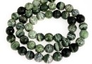 Silver serpentinite, faceted round, 8mm