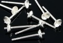 Earring findings, pin and cup 3mm, 925 silver - x1pair