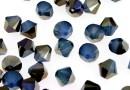 Swarovski, margele bicone, white opal sky blue, 6mm - x10