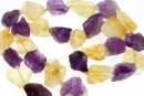 Amethyst and citrine rough stone, free form, 12-16mm