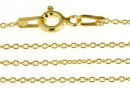 Bracelet, oval jump rings, gold-plated 925 silver, 19cm - x1