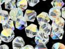 Swarovski, margele bicone, crystal aurore boreale, 3mm - x20