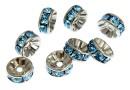 Swarovski, spacer, rhodium-plated, aquamarine, 6mm - x2