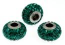 Swarovski, becharmed pave emerald, 15mm - x1