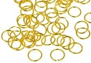 Jump rings, open, gold-plated 925 silver, 6x0.6mm - x5