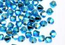 Swarovski, margele bicone, turquoise AB2x, 4mm - x20