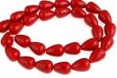Perle Mallorca, picatura, rosu, 15x10.5mm