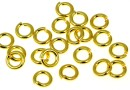 Hard jump rings, open, gold-plated 925 silver, 4.9x1mm - x5