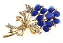 Brosa martisor, buchet flori, albastru, 69mm - x1