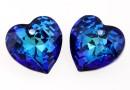 Swarovski, heart pendant, bermuda blue, 10.5mm - x2