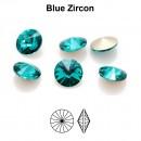 Preciosa rivoli, blue zircon, 8mm - x2