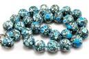 Mosaic stone, round rondelle, turquoise - white, 17x13mm